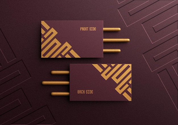 Business card mockup with debossed effect Premium Psd