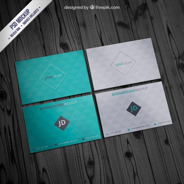 Business card mockup with geometric pattern Free Psd