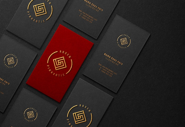 Business card mockup with gold embossed effect Premium Psd