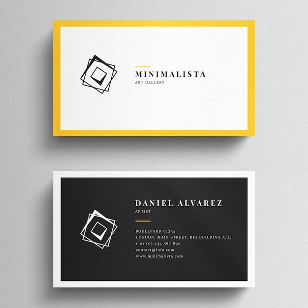 Business card mockup with yellow borders Premium Psd