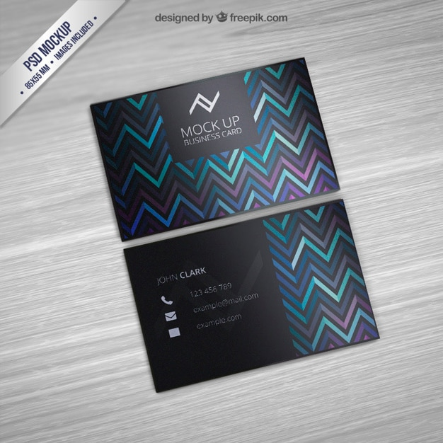 Business Card Mockup With Zigzag Pattern Free Psd