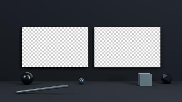 검은 배경 및 기하학적 모양 배경 비즈니스 카드 프리미엄 PSD 파일