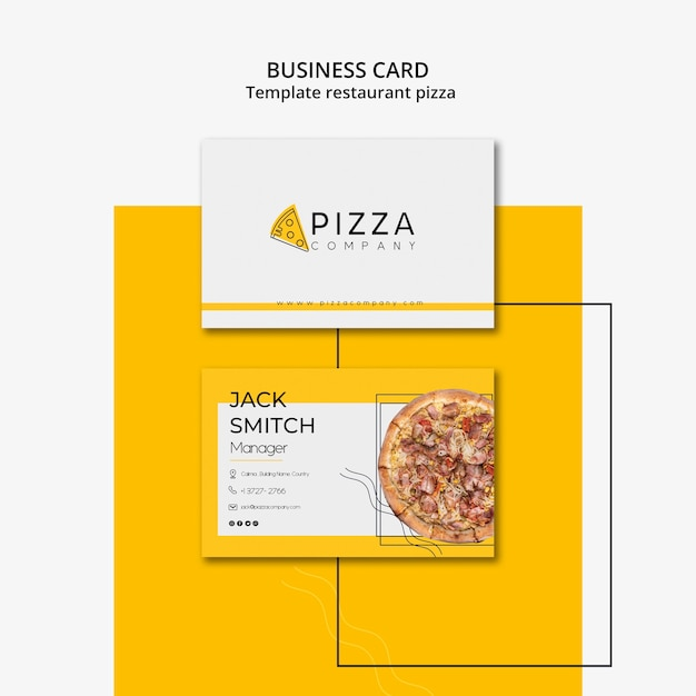 Business card for pizza restaurant Free Psd