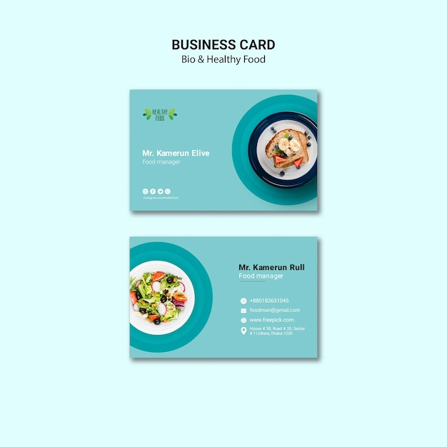 Business card of restaurant template Free Psd