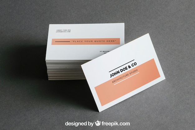 Business card stack mockup Free Psd