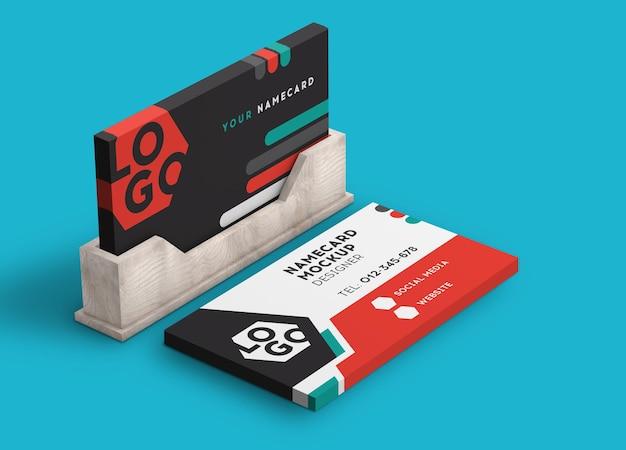 Визитная карточка стек современный макет 3d рендеринга Premium Psd
