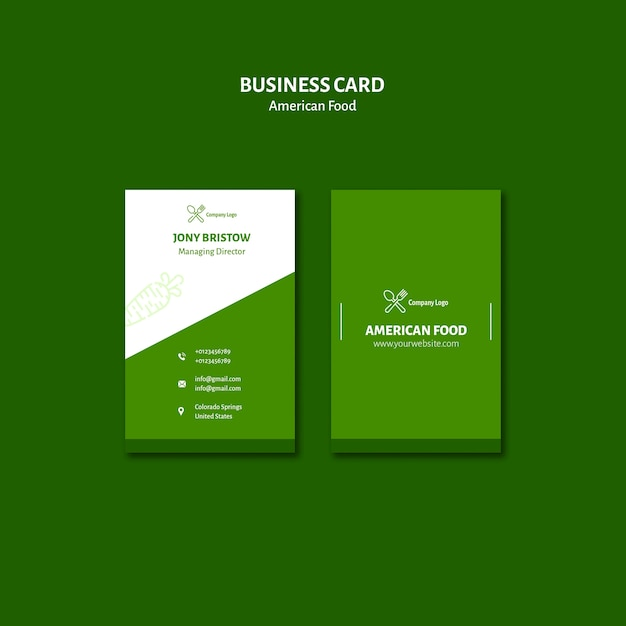 Business card style american food Free Psd