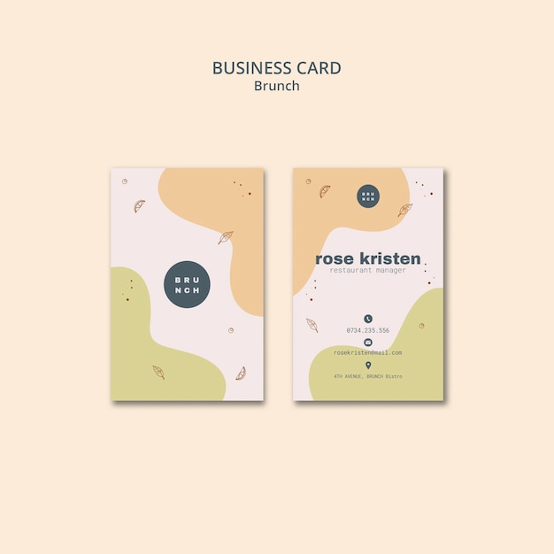 Business card style for tasty brunch Free Psd