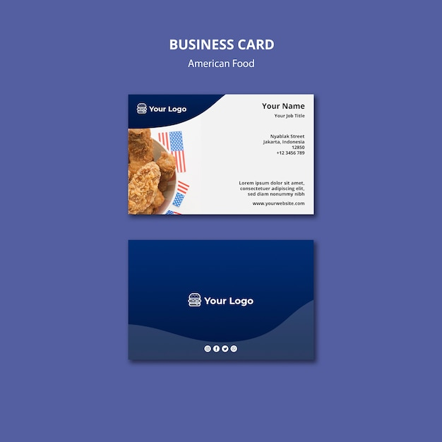 Business card templatefor american food restaurant Free Psd