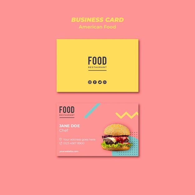 Business card template for american food with burger Free Psd