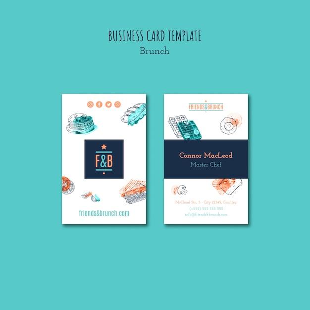 Business card template for brunch restaurant Free Psd