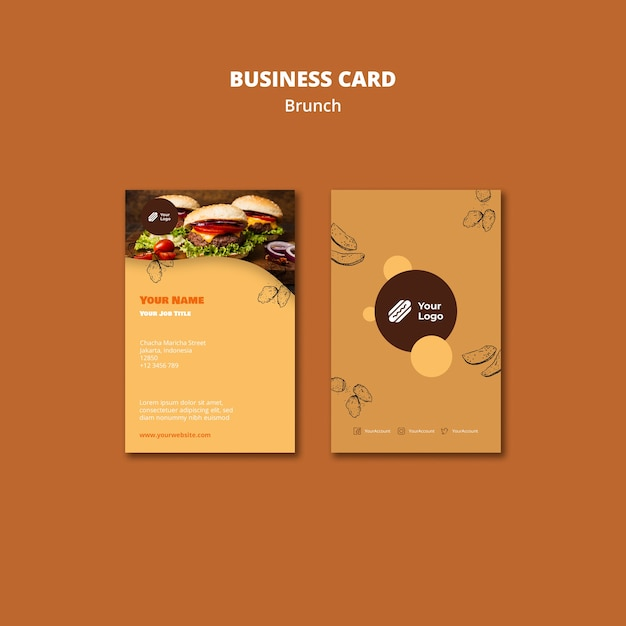 Business card template for brunch Free Psd