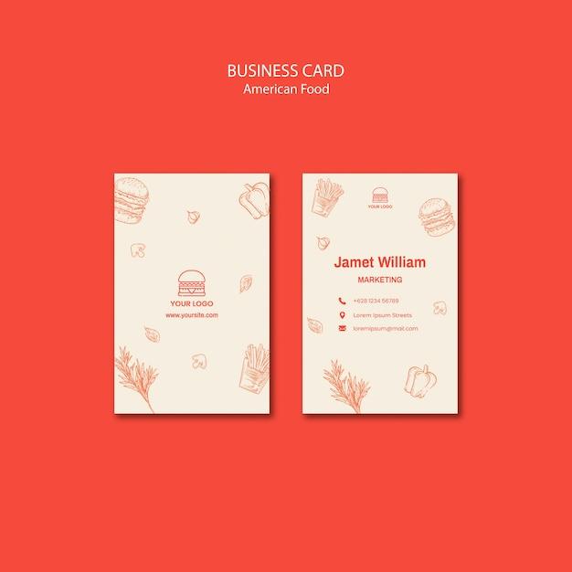 Business card template for burger restaurant Free Psd