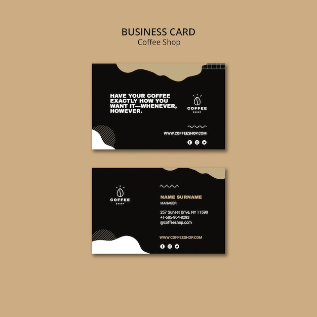 Business card template concept for coffee shop Free Psd