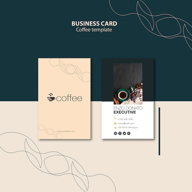 Business card template concept with coffee Free Psd