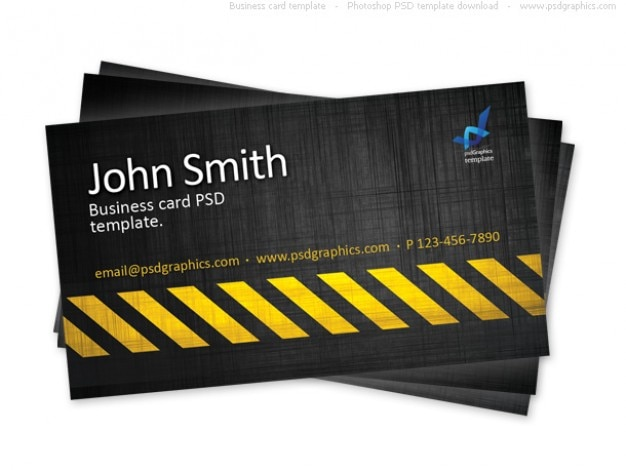 Business card template, construction hazard stripes theme Free Psd