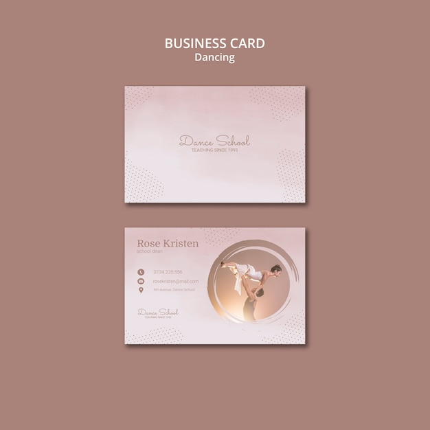 Business card template for dancing performers Premium Psd