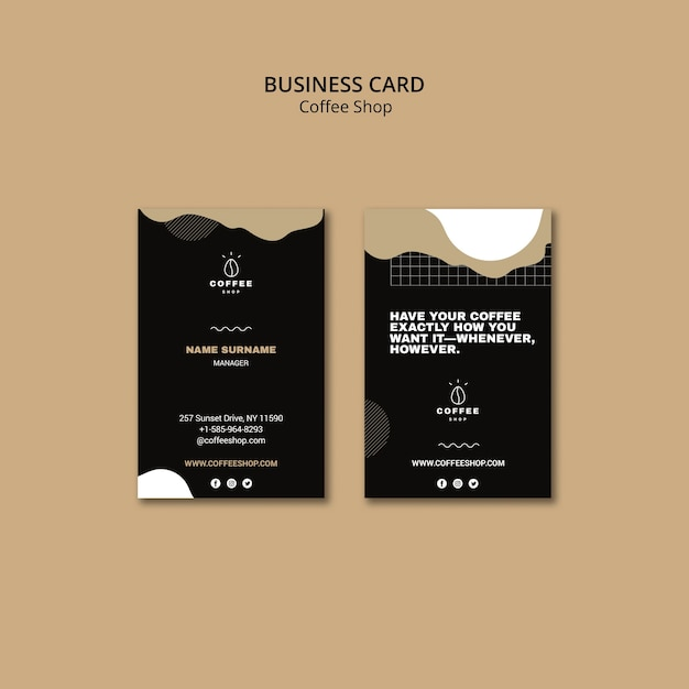 Business card template design for coffee shop Free Psd