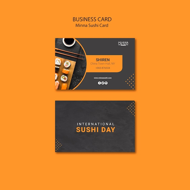Business card template for international sushi day Free Psd