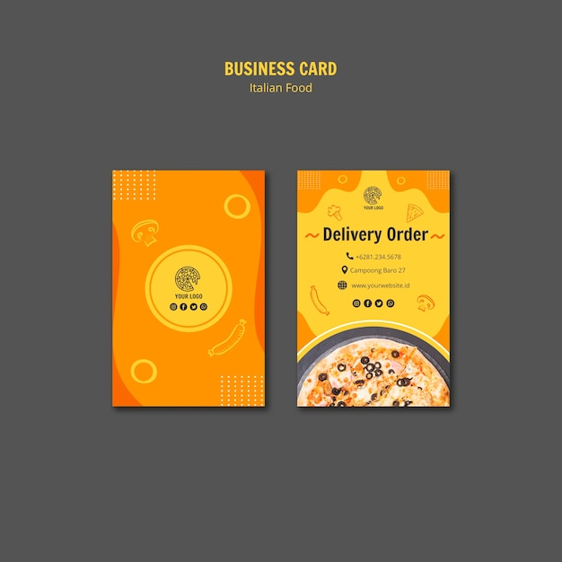 Business card template for italian food bistro Free Psd