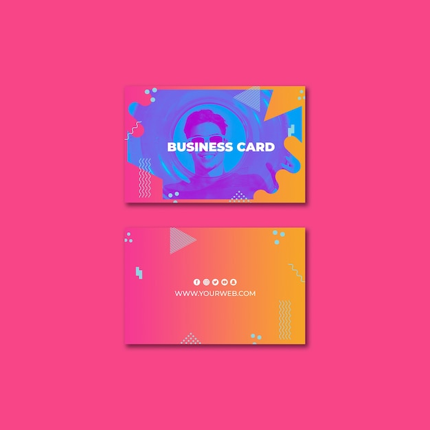 Business card template in memphis style with summer concept Free Psd