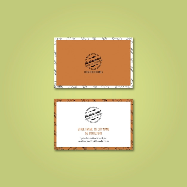 Business card template for restaurant PSD file | Free Download