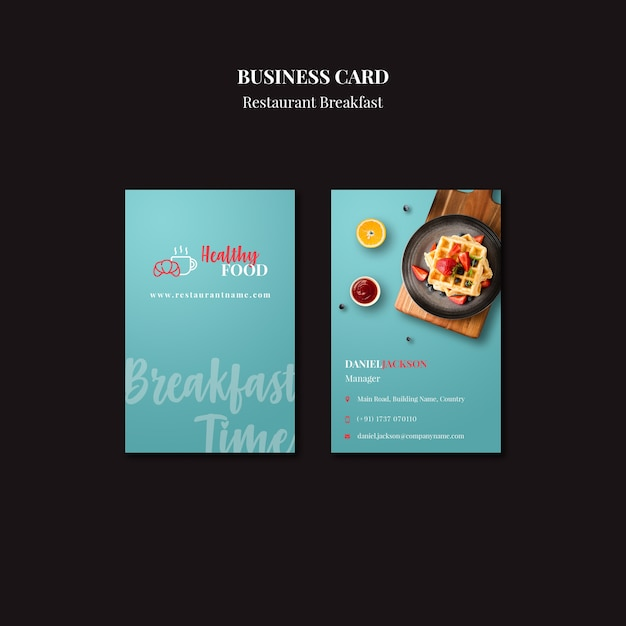 Business card template for restaurant Free Psd