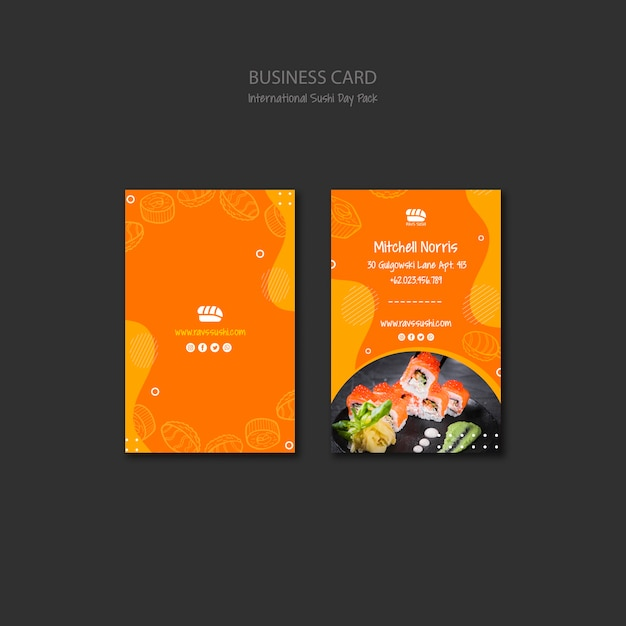 Business card template for sushi restaurant Free Psd