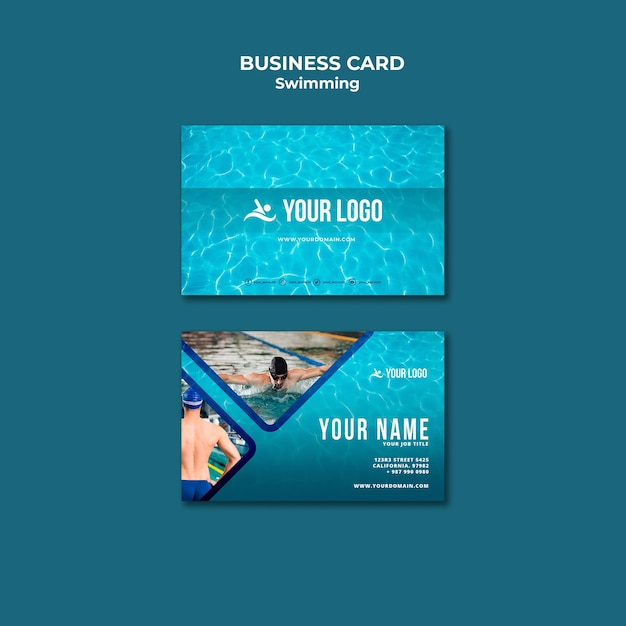 Business card template for swimming lessons Free Psd