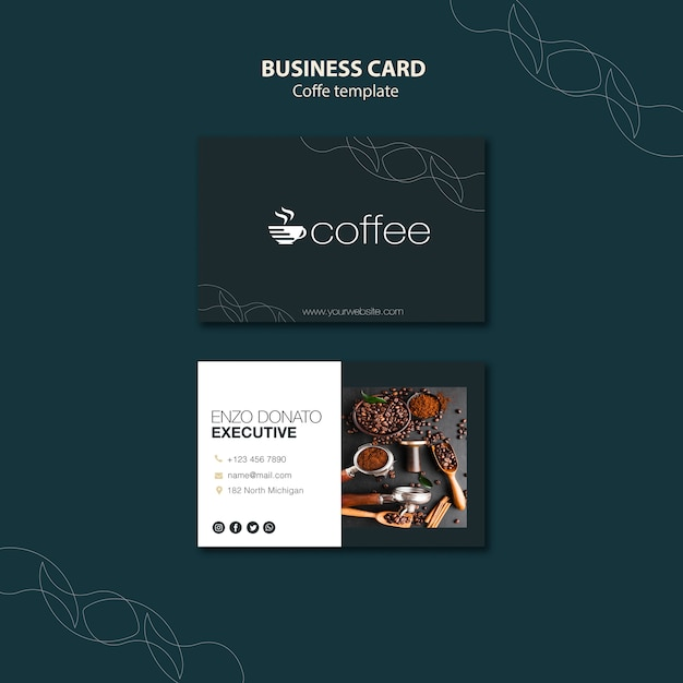 Business card template theme with coffee Free Psd
