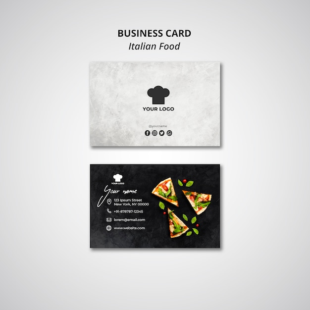 Business card template for traditional italian food restaurant Free Psd