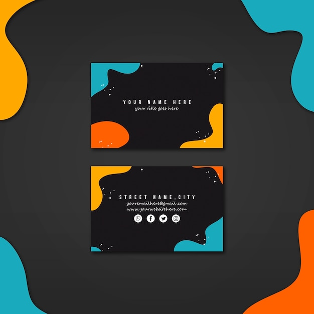 Business card template with abstract vivid colors Free Psd