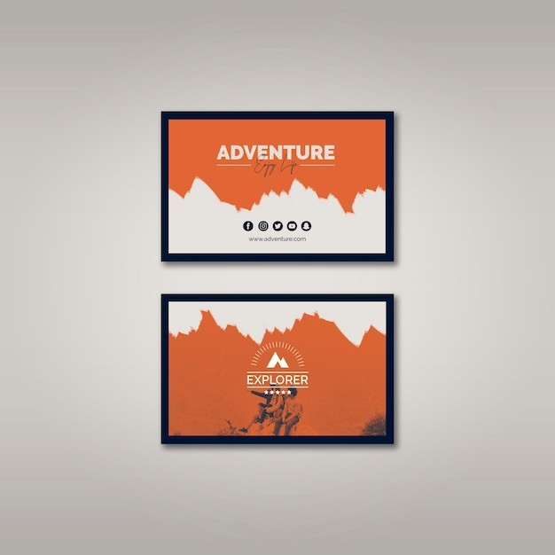 Business card template with adventure concept Free Psd