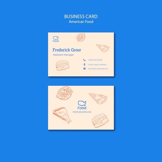 Шаблон визитной карточки с американской концепцией еды Бесплатные Psd