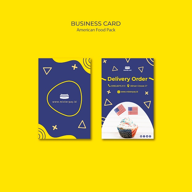 Business card template with american food concept Free Psd