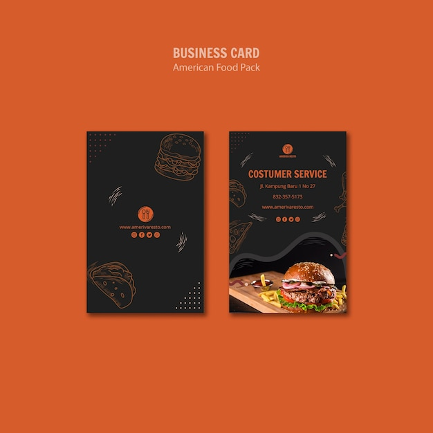 Business card template with american food design Free Psd