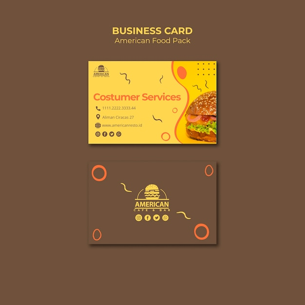 Business card template with american food theme Free Psd