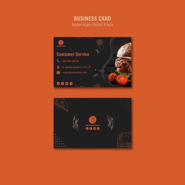 Business card template with american food Free Psd