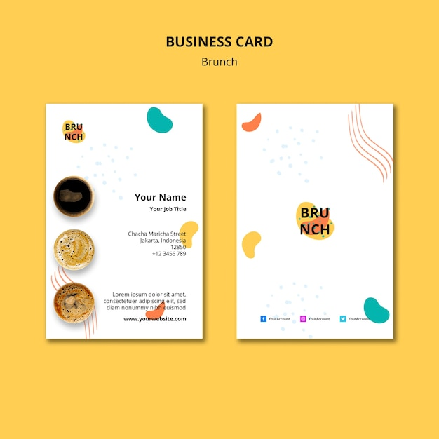Business card template with brunch concept Free Psd
