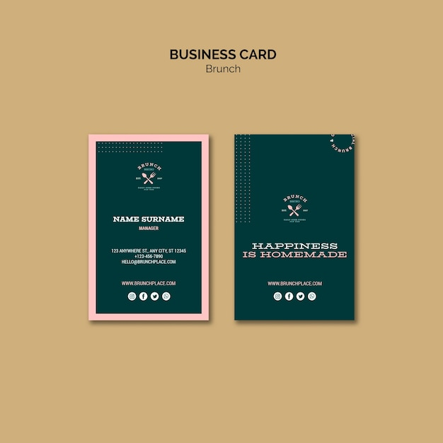 Business card template with brunch theme Free Psd