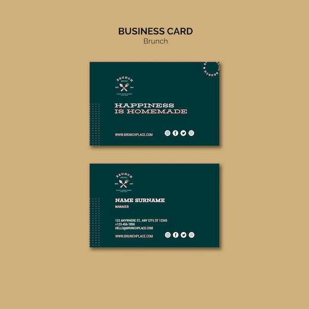 Business card template with brunch Free Psd