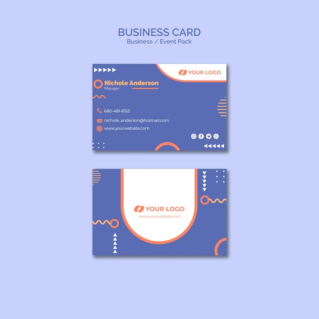 business card template with business event concept free. Black Bedroom Furniture Sets. Home Design Ideas