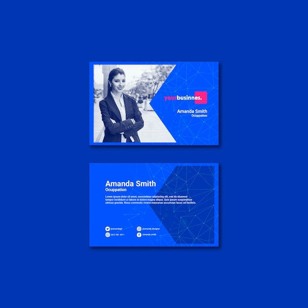 Business card template with business woman Free Psd