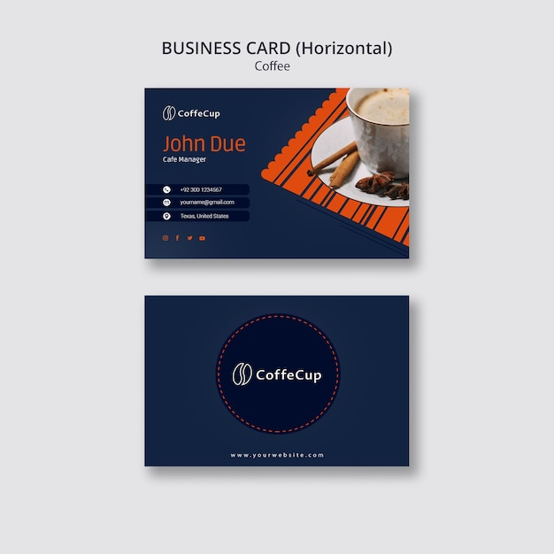 Business card template with coffee concept Free Psd
