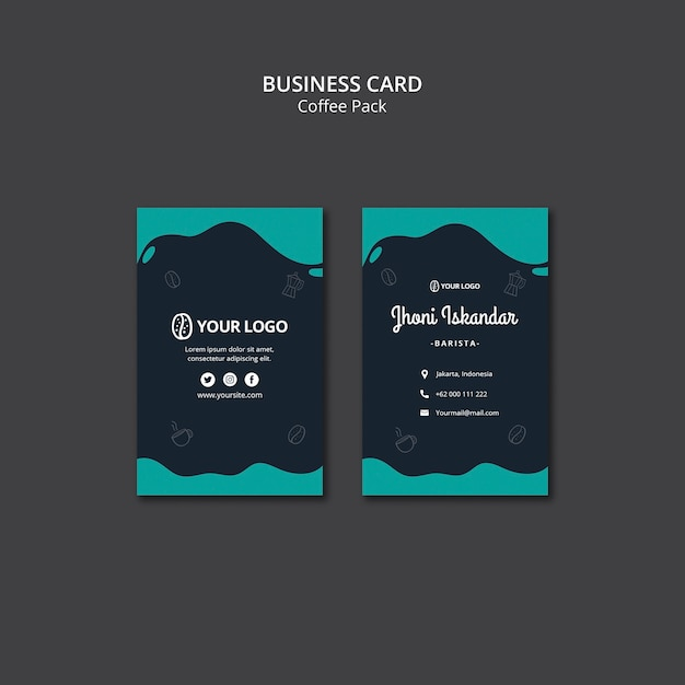 Business card template with coffee design Free Psd