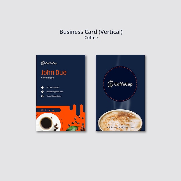 Business card template with coffee theme Free Psd
