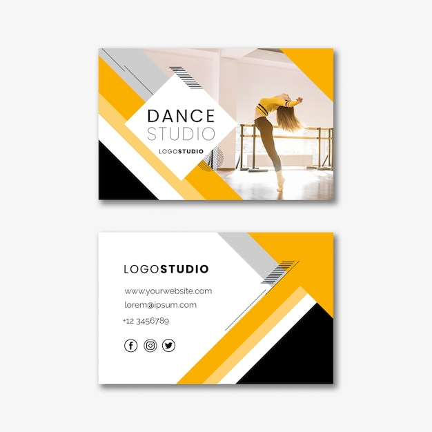 Business card template with dance studio Free Psd