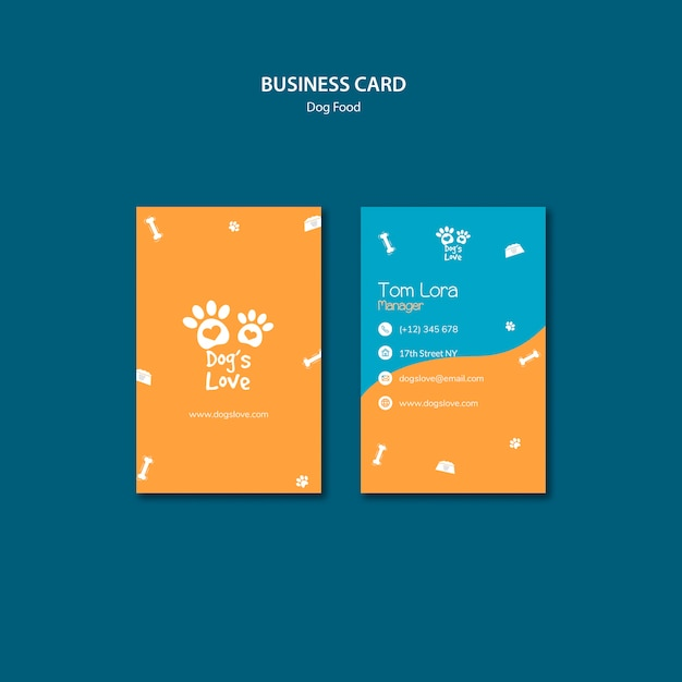 Business card template with dog food theme Free Psd