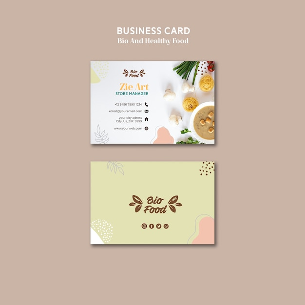 Business card template with healthy food Free Psd
