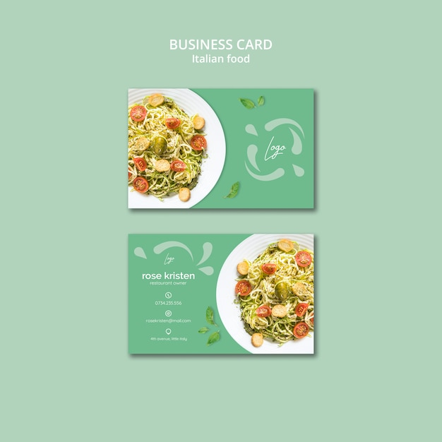 Business card template with italian food theme Free Psd